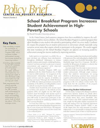 Image of Download Brief on the School Breakfast Program