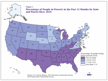 Image of Poverty for States and Large Metropolitan Areas